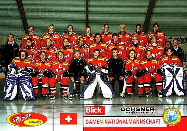 2003-04 Swiss Ice Hockey Cards #496 Swiss National Team, Team Photo<br/>2 In Stock - $3.00 each - <a href=https://centericecollectibles.foxycart.com/cart?name=2003-04%20Swiss%20Ice%20Hockey%20Cards%20%23496%20Swiss%20National%20...&quantity_max=2&price=$3.00&code=726204 class=foxycart> Buy it now! </a>