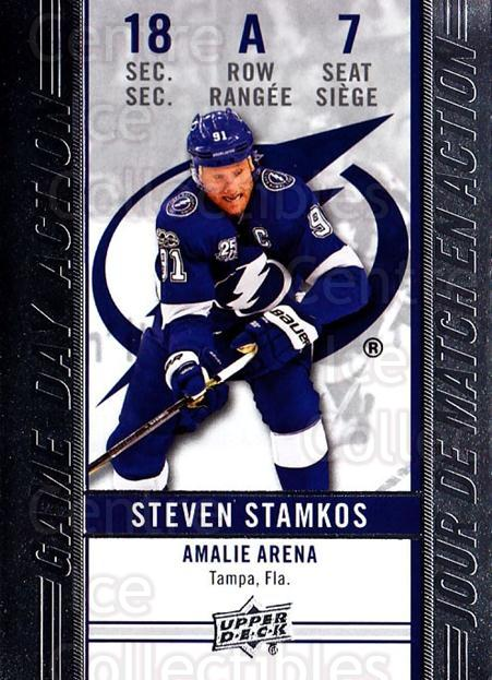 2018-19 Tim Hortons Game Day Action #7 Steven Stamkos<br/>12 In Stock - $3.00 each - <a href=https://centericecollectibles.foxycart.com/cart?name=2018-19%20Tim%20Hortons%20Game%20Day%20Action%20%237%20Steven%20Stamkos...&quantity_max=12&price=$3.00&code=726275 class=foxycart> Buy it now! </a>