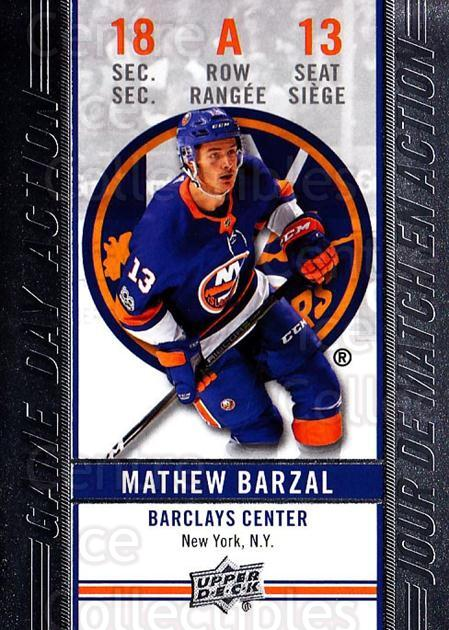 2018-19 Tim Hortons Game Day Action #13 Mathew Barzal<br/>4 In Stock - $3.00 each - <a href=https://centericecollectibles.foxycart.com/cart?name=2018-19%20Tim%20Hortons%20Game%20Day%20Action%20%2313%20Mathew%20Barzal...&quantity_max=4&price=$3.00&code=726281 class=foxycart> Buy it now! </a>