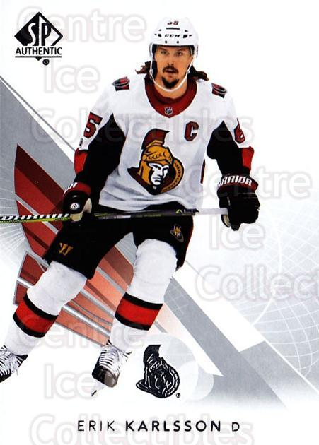 2017-18 SP Authentic #56 Erik Karlsson<br/>6 In Stock - $1.00 each - <a href=https://centericecollectibles.foxycart.com/cart?name=2017-18%20SP%20Authentic%20%2356%20Erik%20Karlsson...&quantity_max=6&price=$1.00&code=726396 class=foxycart> Buy it now! </a>