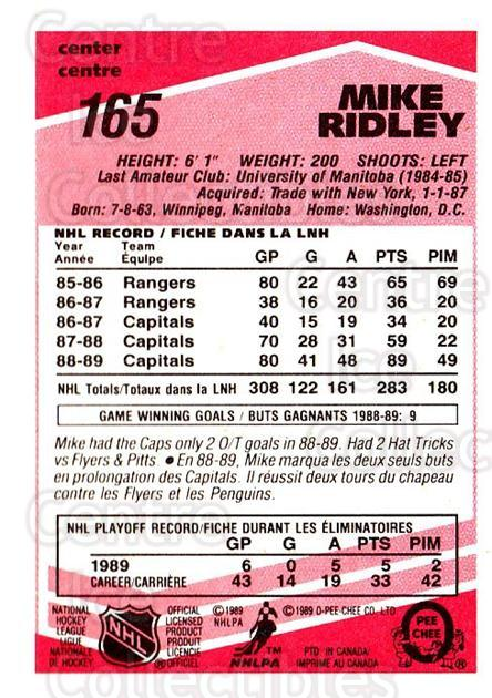 1989-90 O-Pee-Chee Tembec Test #165 Mike Ridley<br/>5 In Stock - $10.00 each - <a href=https://centericecollectibles.foxycart.com/cart?name=1989-90%20O-Pee-Chee%20Tembec%20Test%20%23165%20Mike%20Ridley...&quantity_max=5&price=$10.00&code=726642 class=foxycart> Buy it now! </a>