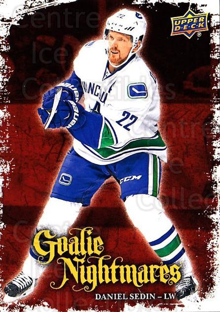 2016-17 Upper Deck Goalie Nightmares #28 Daniel Sedin<br/>3 In Stock - $3.00 each - <a href=https://centericecollectibles.foxycart.com/cart?name=2016-17%20Upper%20Deck%20Goalie%20Nightmares%20%2328%20Daniel%20Sedin...&quantity_max=3&price=$3.00&code=726737 class=foxycart> Buy it now! </a>