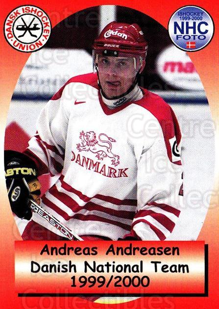 1999-00 Danish National Team #17 Andreas Andreasen<br/>1 In Stock - $3.00 each - <a href=https://centericecollectibles.foxycart.com/cart?name=1999-00%20Danish%20National%20Team%20%2317%20Andreas%20Andreas...&quantity_max=1&price=$3.00&code=727826 class=foxycart> Buy it now! </a>