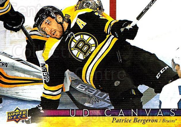 2017-18 Upper Deck Canvas #130 Patrice Bergeron<br/>1 In Stock - $3.00 each - <a href=https://centericecollectibles.foxycart.com/cart?name=2017-18%20Upper%20Deck%20Canvas%20%23130%20Patrice%20Bergero...&quantity_max=1&price=$3.00&code=728799 class=foxycart> Buy it now! </a>
