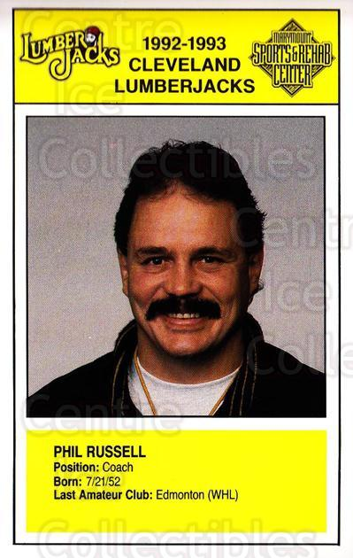 1992-93 Cleveland Lumberjacks Postcards #20 Phil Russell<br/>1 In Stock - $3.00 each - <a href=https://centericecollectibles.foxycart.com/cart?name=1992-93%20Cleveland%20Lumberjacks%20Postcards%20%2320%20Phil%20Russell...&quantity_max=1&price=$3.00&code=729706 class=foxycart> Buy it now! </a>