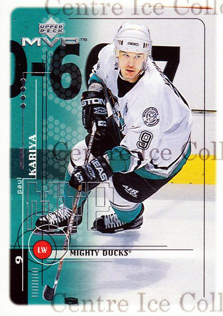 1998-99 Upper Deck MVP #1 Paul Kariya<br/>14 In Stock - $1.00 each - <a href=https://centericecollectibles.foxycart.com/cart?name=1998-99%20Upper%20Deck%20MVP%20%231%20Paul%20Kariya...&quantity_max=14&price=$1.00&code=72975 class=foxycart> Buy it now! </a>