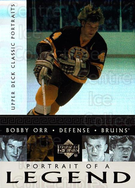 2002-03 UD Classic Portraits Portrait of a Legend #3 Bobby Orr<br/>1 In Stock - $5.00 each - <a href=https://centericecollectibles.foxycart.com/cart?name=2002-03%20UD%20Classic%20Portraits%20Portrait%20of%20a%20Legend%20%233%20Bobby%20Orr...&quantity_max=1&price=$5.00&code=729787 class=foxycart> Buy it now! </a>