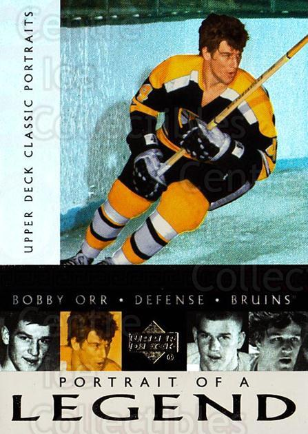 2002-03 UD Classic Portraits Portrait of a Legend #4 Bobby Orr<br/>1 In Stock - $5.00 each - <a href=https://centericecollectibles.foxycart.com/cart?name=2002-03%20UD%20Classic%20Portraits%20Portrait%20of%20a%20Legend%20%234%20Bobby%20Orr...&quantity_max=1&price=$5.00&code=729788 class=foxycart> Buy it now! </a>