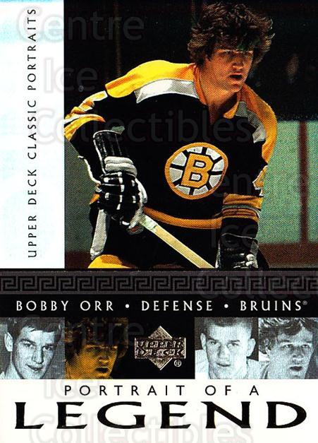 2002-03 UD Classic Portraits Portrait of a Legend #5 Bobby Orr<br/>1 In Stock - $5.00 each - <a href=https://centericecollectibles.foxycart.com/cart?name=2002-03%20UD%20Classic%20Portraits%20Portrait%20of%20a%20Legend%20%235%20Bobby%20Orr...&quantity_max=1&price=$5.00&code=729789 class=foxycart> Buy it now! </a>