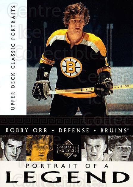2002-03 UD Classic Portraits Portrait of a Legend #6 Bobby Orr<br/>1 In Stock - $5.00 each - <a href=https://centericecollectibles.foxycart.com/cart?name=2002-03%20UD%20Classic%20Portraits%20Portrait%20of%20a%20Legend%20%236%20Bobby%20Orr...&quantity_max=1&price=$5.00&code=729790 class=foxycart> Buy it now! </a>