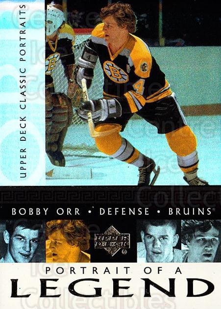 2002-03 UD Classic Portraits Portrait of a Legend #7 Bobby Orr<br/>1 In Stock - $5.00 each - <a href=https://centericecollectibles.foxycart.com/cart?name=2002-03%20UD%20Classic%20Portraits%20Portrait%20of%20a%20Legend%20%237%20Bobby%20Orr...&quantity_max=1&price=$5.00&code=729791 class=foxycart> Buy it now! </a>