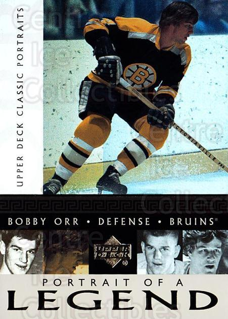 2002-03 UD Classic Portraits Portrait of a Legend #8 Bobby Orr<br/>1 In Stock - $5.00 each - <a href=https://centericecollectibles.foxycart.com/cart?name=2002-03%20UD%20Classic%20Portraits%20Portrait%20of%20a%20Legend%20%238%20Bobby%20Orr...&quantity_max=1&price=$5.00&code=729792 class=foxycart> Buy it now! </a>