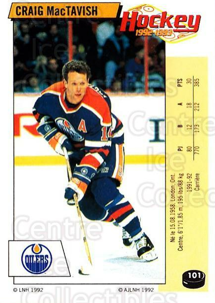 1992-93 Panini Stickers French #101 Craig MacTavish<br/>7 In Stock - $5.00 each - <a href=https://centericecollectibles.foxycart.com/cart?name=1992-93%20Panini%20Stickers%20French%20%23101%20Craig%20MacTavish...&quantity_max=7&price=$5.00&code=730474 class=foxycart> Buy it now! </a>