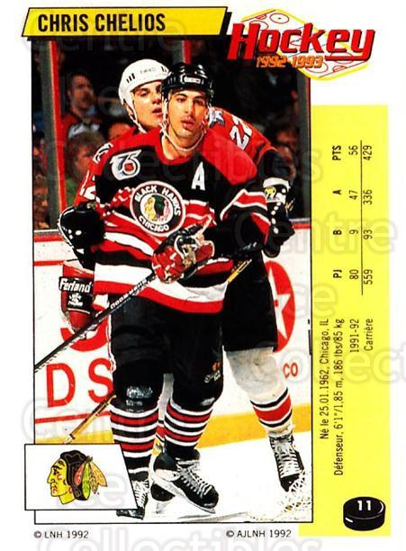 1992-93 Panini Stickers French #11 Chris Chelios<br/>2 In Stock - $10.00 each - <a href=https://centericecollectibles.foxycart.com/cart?name=1992-93%20Panini%20Stickers%20French%20%2311%20Chris%20Chelios...&quantity_max=2&price=$10.00&code=730483 class=foxycart> Buy it now! </a>