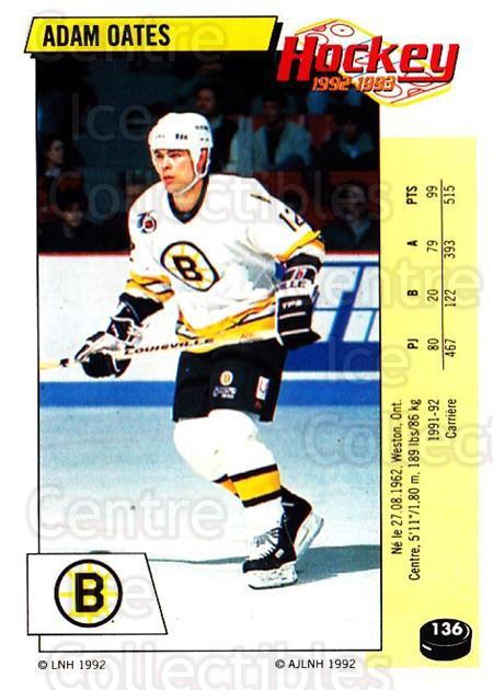 1992-93 Panini Stickers French #136 Adam Oates<br/>7 In Stock - $10.00 each - <a href=https://centericecollectibles.foxycart.com/cart?name=1992-93%20Panini%20Stickers%20French%20%23136%20Adam%20Oates...&quantity_max=7&price=$10.00&code=730509 class=foxycart> Buy it now! </a>