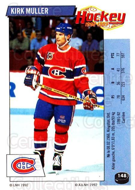 1992-93 Panini Stickers French #148 Kirk Muller<br/>3 In Stock - $5.00 each - <a href=https://centericecollectibles.foxycart.com/cart?name=1992-93%20Panini%20Stickers%20French%20%23148%20Kirk%20Muller...&quantity_max=3&price=$5.00&code=730521 class=foxycart> Buy it now! </a>