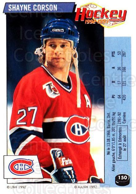 1992-93 Panini Stickers French #150 Shayne Corson<br/>8 In Stock - $5.00 each - <a href=https://centericecollectibles.foxycart.com/cart?name=1992-93%20Panini%20Stickers%20French%20%23150%20Shayne%20Corson...&quantity_max=8&price=$5.00&code=730524 class=foxycart> Buy it now! </a>