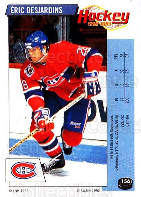 1992-93 Panini Stickers French #156 Eric Desjardins<br/>3 In Stock - $5.00 each - <a href=https://centericecollectibles.foxycart.com/cart?name=1992-93%20Panini%20Stickers%20French%20%23156%20Eric%20Desjardins...&quantity_max=3&price=$5.00&code=730530 class=foxycart> Buy it now! </a>