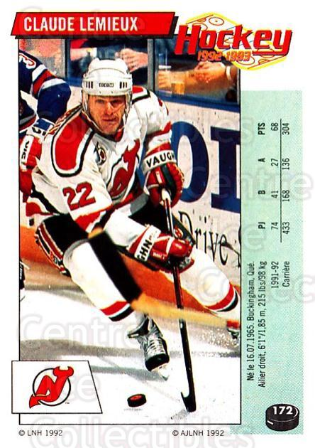 1992-93 Panini Stickers French #172 Claude Lemieux<br/>5 In Stock - $5.00 each - <a href=https://centericecollectibles.foxycart.com/cart?name=1992-93%20Panini%20Stickers%20French%20%23172%20Claude%20Lemieux...&quantity_max=5&price=$5.00&code=730547 class=foxycart> Buy it now! </a>