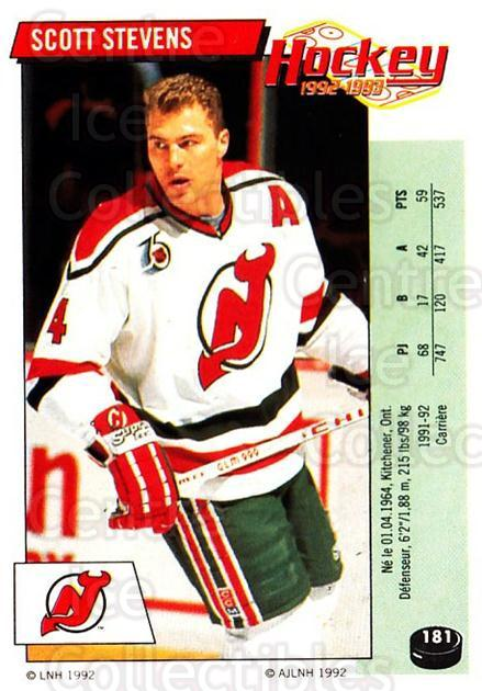 1992-93 Panini Stickers French #181 Scott Stevens<br/>6 In Stock - $10.00 each - <a href=https://centericecollectibles.foxycart.com/cart?name=1992-93%20Panini%20Stickers%20French%20%23181%20Scott%20Stevens...&quantity_max=6&price=$10.00&code=730556 class=foxycart> Buy it now! </a>