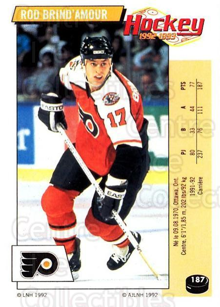 1992-93 Panini Stickers French #187 Rod Brind'Amour<br/>7 In Stock - $10.00 each - <a href=https://centericecollectibles.foxycart.com/cart?name=1992-93%20Panini%20Stickers%20French%20%23187%20Rod%20Brind'Amour...&quantity_max=7&price=$10.00&code=730562 class=foxycart> Buy it now! </a>