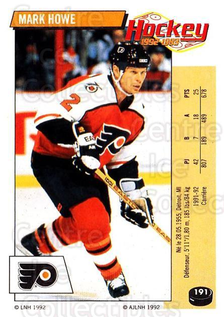 1992-93 Panini Stickers French #191 Mark Howe<br/>10 In Stock - $5.00 each - <a href=https://centericecollectibles.foxycart.com/cart?name=1992-93%20Panini%20Stickers%20French%20%23191%20Mark%20Howe...&quantity_max=10&price=$5.00&code=730567 class=foxycart> Buy it now! </a>