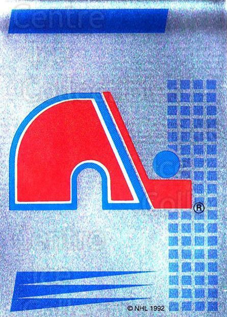 1992-93 Panini Stickers French #206 Quebec Nordiques<br/>4 In Stock - $5.00 each - <a href=https://centericecollectibles.foxycart.com/cart?name=1992-93%20Panini%20Stickers%20French%20%23206%20Quebec%20Nordique...&quantity_max=4&price=$5.00&code=730584 class=foxycart> Buy it now! </a>