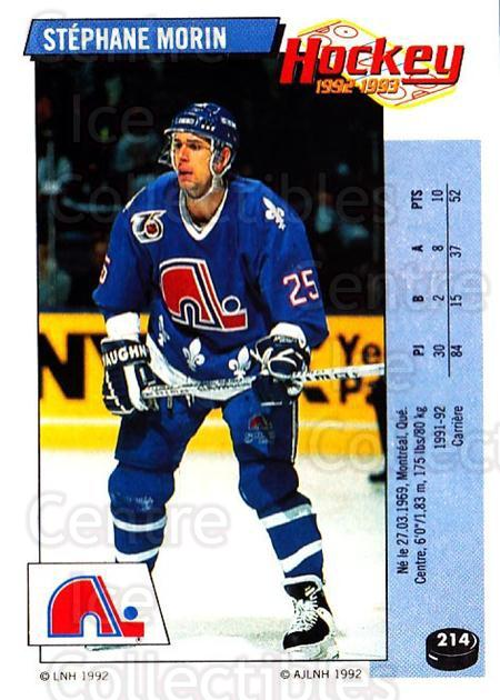 1992-93 Panini Stickers French #214 Stephane Morin<br/>6 In Stock - $5.00 each - <a href=https://centericecollectibles.foxycart.com/cart?name=1992-93%20Panini%20Stickers%20French%20%23214%20Stephane%20Morin...&quantity_max=6&price=$5.00&code=730592 class=foxycart> Buy it now! </a>