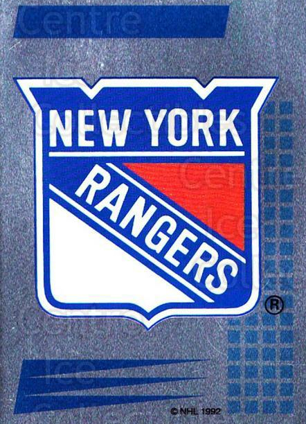 1992-93 Panini Stickers French #230 New York Rangers<br/>6 In Stock - $5.00 each - <a href=https://centericecollectibles.foxycart.com/cart?name=1992-93%20Panini%20Stickers%20French%20%23230%20New%20York%20Ranger...&quantity_max=6&price=$5.00&code=730609 class=foxycart> Buy it now! </a>