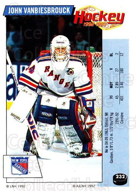 1992-93 Panini Stickers French #232 John Vanbiesbrouck<br/>2 In Stock - $20.00 each - <a href=https://centericecollectibles.foxycart.com/cart?name=1992-93%20Panini%20Stickers%20French%20%23232%20John%20Vanbiesbro...&quantity_max=2&price=$20.00&code=730611 class=foxycart> Buy it now! </a>