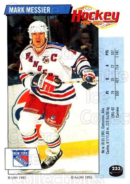 1992-93 Panini Stickers French #233 Mark Messier<br/>3 In Stock - $20.00 each - <a href=https://centericecollectibles.foxycart.com/cart?name=1992-93%20Panini%20Stickers%20French%20%23233%20Mark%20Messier...&quantity_max=3&price=$20.00&code=730612 class=foxycart> Buy it now! </a>