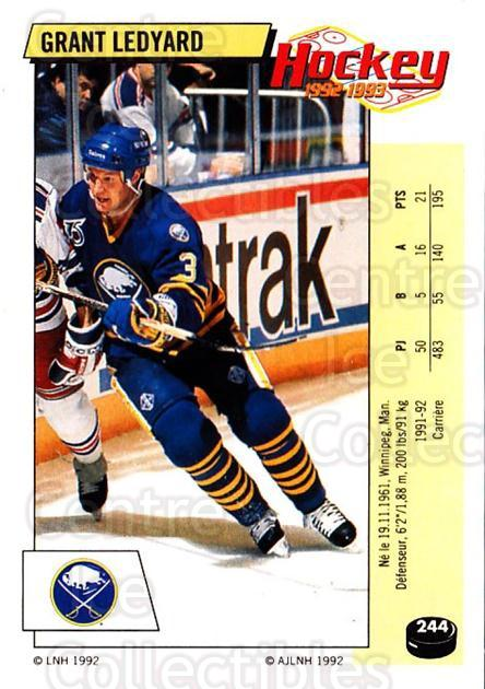 1992-93 Panini Stickers French #244 Grant Ledyard<br/>12 In Stock - $5.00 each - <a href=https://centericecollectibles.foxycart.com/cart?name=1992-93%20Panini%20Stickers%20French%20%23244%20Grant%20Ledyard...&quantity_max=12&price=$5.00&code=730624 class=foxycart> Buy it now! </a>