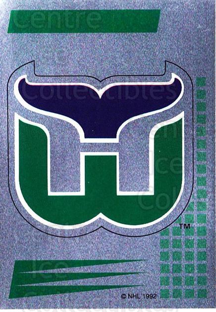 1992-93 Panini Stickers French #254 Hartford Whalers<br/>2 In Stock - $5.00 each - <a href=https://centericecollectibles.foxycart.com/cart?name=1992-93%20Panini%20Stickers%20French%20%23254%20Hartford%20Whaler...&quantity_max=2&price=$5.00&code=730635 class=foxycart> Buy it now! </a>