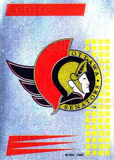 1992-93 Panini Stickers French #268 Ottawa Senators<br/>7 In Stock - $5.00 each - <a href=https://centericecollectibles.foxycart.com/cart?name=1992-93%20Panini%20Stickers%20French%20%23268%20Ottawa%20Senators...&quantity_max=7&price=$5.00&code=730650 class=foxycart> Buy it now! </a>