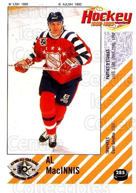 1992-93 Panini Stickers French #285 Al MacInnis<br/>6 In Stock - $10.00 each - <a href=https://centericecollectibles.foxycart.com/cart?name=1992-93%20Panini%20Stickers%20French%20%23285%20Al%20MacInnis...&quantity_max=6&price=$10.00&code=730663 class=foxycart> Buy it now! </a>