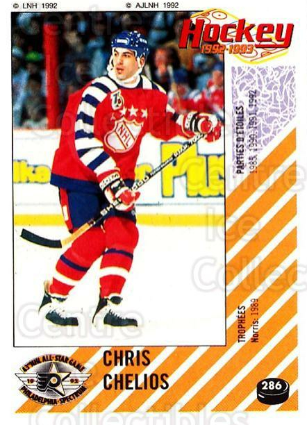 1992-93 Panini Stickers French #286 Chris Chelios<br/>5 In Stock - $10.00 each - <a href=https://centericecollectibles.foxycart.com/cart?name=1992-93%20Panini%20Stickers%20French%20%23286%20Chris%20Chelios...&quantity_max=5&price=$10.00&code=730664 class=foxycart> Buy it now! </a>