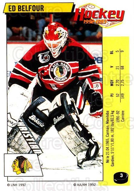 1992-93 Panini Stickers French #3 Ed Belfour<br/>2 In Stock - $30.00 each - <a href=https://centericecollectibles.foxycart.com/cart?name=1992-93%20Panini%20Stickers%20French%20%233%20Ed%20Belfour...&quantity_max=2&price=$30.00&code=730672 class=foxycart> Buy it now! </a>