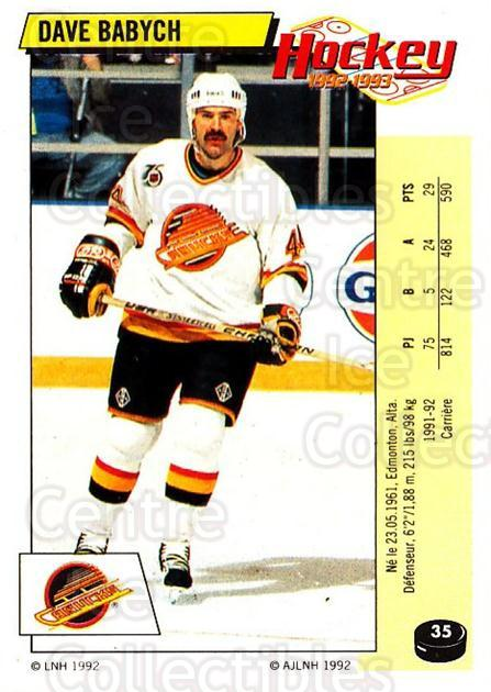 1992-93 Panini Stickers French #35 Dave Babych<br/>11 In Stock - $5.00 each - <a href=https://centericecollectibles.foxycart.com/cart?name=1992-93%20Panini%20Stickers%20French%20%2335%20Dave%20Babych...&quantity_max=11&price=$5.00&code=730687 class=foxycart> Buy it now! </a>
