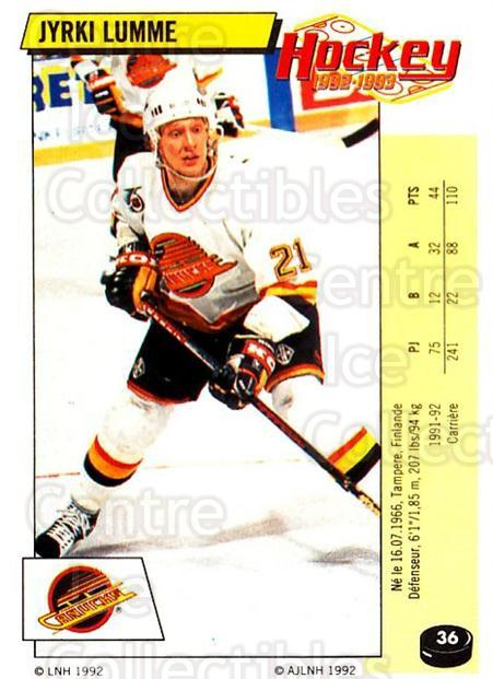 1992-93 Panini Stickers French #36 Jyrki Lumme<br/>7 In Stock - $5.00 each - <a href=https://centericecollectibles.foxycart.com/cart?name=1992-93%20Panini%20Stickers%20French%20%2336%20Jyrki%20Lumme...&quantity_max=7&price=$5.00&code=730688 class=foxycart> Buy it now! </a>