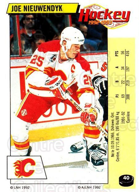 1992-93 Panini Stickers French #40 Joe Nieuwendyk<br/>7 In Stock - $10.00 each - <a href=https://centericecollectibles.foxycart.com/cart?name=1992-93%20Panini%20Stickers%20French%20%2340%20Joe%20Nieuwendyk...&quantity_max=7&price=$10.00&code=730693 class=foxycart> Buy it now! </a>