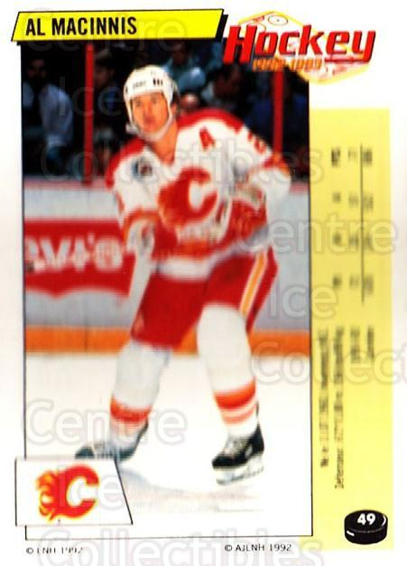 1992-93 Panini Stickers French #49 Al MacInnis<br/>6 In Stock - $10.00 each - <a href=https://centericecollectibles.foxycart.com/cart?name=1992-93%20Panini%20Stickers%20French%20%2349%20Al%20MacInnis...&quantity_max=6&price=$10.00&code=730701 class=foxycart> Buy it now! </a>