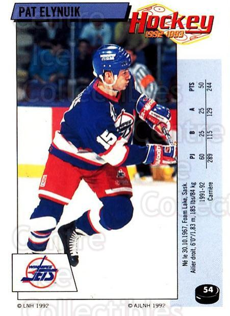 1992-93 Panini Stickers French #54 Pat Elynuik<br/>7 In Stock - $5.00 each - <a href=https://centericecollectibles.foxycart.com/cart?name=1992-93%20Panini%20Stickers%20French%20%2354%20Pat%20Elynuik...&quantity_max=7&price=$5.00&code=730707 class=foxycart> Buy it now! </a>