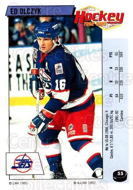 1992-93 Panini Stickers French #55 Ed Olczyk<br/>4 In Stock - $5.00 each - <a href=https://centericecollectibles.foxycart.com/cart?name=1992-93%20Panini%20Stickers%20French%20%2355%20Ed%20Olczyk...&quantity_max=4&price=$5.00&code=730708 class=foxycart> Buy it now! </a>