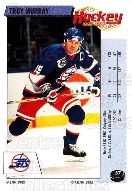 1992-93 Panini Stickers French #57 Troy Murray<br/>12 In Stock - $5.00 each - <a href=https://centericecollectibles.foxycart.com/cart?name=1992-93%20Panini%20Stickers%20French%20%2357%20Troy%20Murray...&quantity_max=12&price=$5.00&code=730710 class=foxycart> Buy it now! </a>
