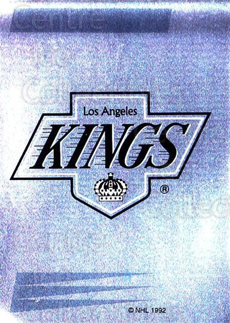 1992-93 Panini Stickers French #62 Los Angeles Kings<br/>3 In Stock - $5.00 each - <a href=https://centericecollectibles.foxycart.com/cart?name=1992-93%20Panini%20Stickers%20French%20%2362%20Los%20Angeles%20Kin...&quantity_max=3&price=$5.00&code=730716 class=foxycart> Buy it now! </a>