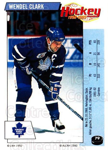 1992-93 Panini Stickers French #79 Wendel Clark<br/>5 In Stock - $10.00 each - <a href=https://centericecollectibles.foxycart.com/cart?name=1992-93%20Panini%20Stickers%20French%20%2379%20Wendel%20Clark...&quantity_max=5&price=$10.00&code=730733 class=foxycart> Buy it now! </a>