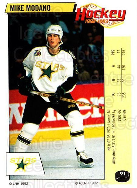 1992-93 Panini Stickers French #91 Mike Modano<br/>6 In Stock - $10.00 each - <a href=https://centericecollectibles.foxycart.com/cart?name=1992-93%20Panini%20Stickers%20French%20%2391%20Mike%20Modano...&quantity_max=6&price=$10.00&code=730747 class=foxycart> Buy it now! </a>