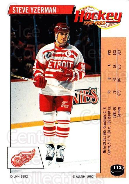 1992-93 Panini Stickers French #112 Steve Yzerman<br/>1 In Stock - $60.00 each - <a href=https://centericecollectibles.foxycart.com/cart?name=1992-93%20Panini%20Stickers%20French%20%23112%20Steve%20Yzerman...&quantity_max=1&price=$60.00&code=730763 class=foxycart> Buy it now! </a>