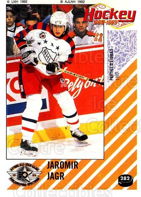 1992-93 Panini Stickers French #282 Jaromir Jagr<br/>1 In Stock - $50.00 each - <a href=https://centericecollectibles.foxycart.com/cart?name=1992-93%20Panini%20Stickers%20French%20%23282%20Jaromir%20Jagr...&quantity_max=1&price=$50.00&code=730769 class=foxycart> Buy it now! </a>