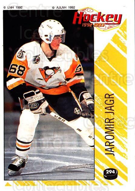 1992-93 Panini Stickers French #294 Jaromir Jagr<br/>1 In Stock - $50.00 each - <a href=https://centericecollectibles.foxycart.com/cart?name=1992-93%20Panini%20Stickers%20French%20%23294%20Jaromir%20Jagr...&quantity_max=1&price=$50.00&code=730776 class=foxycart> Buy it now! </a>